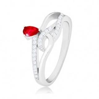 Prsteň zo striebra 925, červený slzičkový zirkón, zvlnené zirkónové línie - Veľkosť: 56 mm