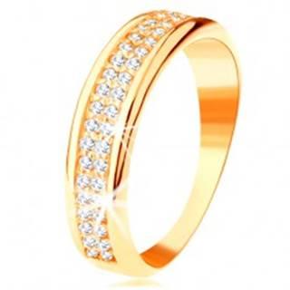 Prsteň zo žltého 14K zlata - dva rady čírych zirkónikov, lesklé zaoblené okraje - Veľkosť: 49 mm