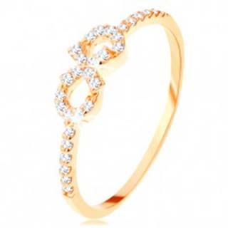 Prsteň zo žltého 14K zlata - symbol nekonečna zdobený čírymi zirkónikmi - Veľkosť: 50 mm