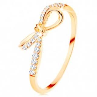 Prsteň zo žltého 14K zlata - zirkónmi zdobená mašlička, úzke ramená - Veľkosť: 49 mm
