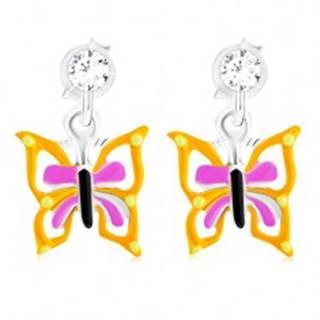 Puzetové náušnice zo striebra 925, motýľ so žlto-fialovými krídlami, glazúra