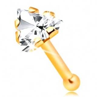 Rovný zlatý 14K piercing do nosa - zirkónový trojuholník čírej farby