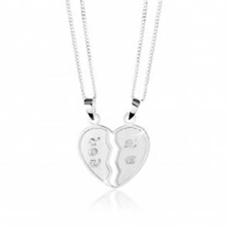 """Strieborný 925 náhrdelník, dvojprívesok - prelomené srdce, nápisy """"YOU"""" a """"ME"""""""