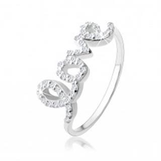 """Strieborný 925 prsteň, nápis """"love"""" vykladaný čírymi zirkónikmi - Veľkosť: 49 mm"""