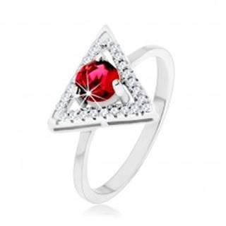 Strieborný 925 prsteň - zirkónový obrys trojuholníka, okrúhly červený zirkón - Veľkosť: 49 mm
