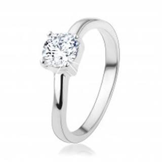 Strieborný prsteň 925 s okrúhlym čírym zirkónom, jemne zvlnené ramená - Veľkosť: 48 mm