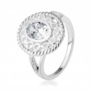 """Strieborný prsteň 925, širšia kontúra zo symbolov """"infinity"""", oválny číry zirkón - Veľkosť: 48 mm"""