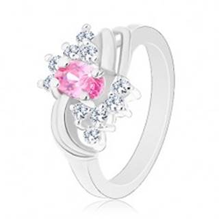 Trblietavý prsteň so striebornou farbou a s ružovým oválom, číre zirkóniky, oblúky - Veľkosť: 49 mm