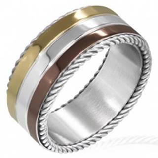 Trojfarebný prsteň z ocele - točené lanko na okraji - Veľkosť: 52 mm