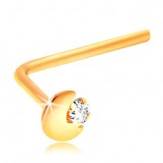 Zahnutý piercing do nosa zo žltého 14K zlata, kosáčik mesiaca, číry zirkón