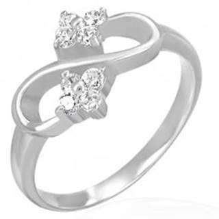 Zásnubný prsteň - osmička, zirkónové kvietky - Veľkosť: 49 mm