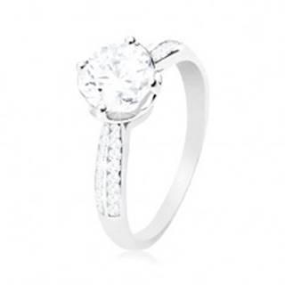 Zásnubný prsteň, striebro 925, číry okrúhly zirkón v dekoratívnom kotlíku - Veľkosť: 56 mm