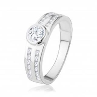 Zásnubný prsteň zo striebra 925, okrúhly číry zirkón, trblietavé línie - Veľkosť: 48 mm