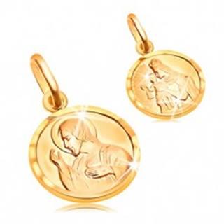Zlatý okrúhly prívesok 585 - Ježiš a svätá Matka v rámčeku