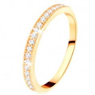 Zlatý prsteň 585 - číry zirkónový pás s vyvýšeným vrúbkovaným lemom - Veľkosť: 49 mm