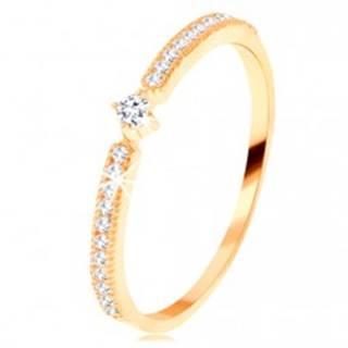 Zlatý prsteň 585 - okrúhly číry zirkón, tenké zirkónové línie po stranách - Veľkosť: 49 mm