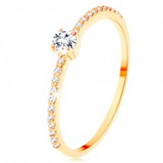 Zlatý prsteň 585 - vyvýšený číry zirkón, pásy zirkónikov čírej farby - Veľkosť: 50 mm