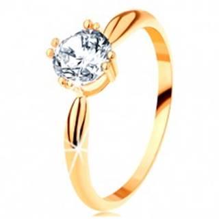 Zlatý zásnubný prsteň 585 - zaoblené ramená, žiarivý okrúhly zirkón čírej farby - Veľkosť: 50 mm