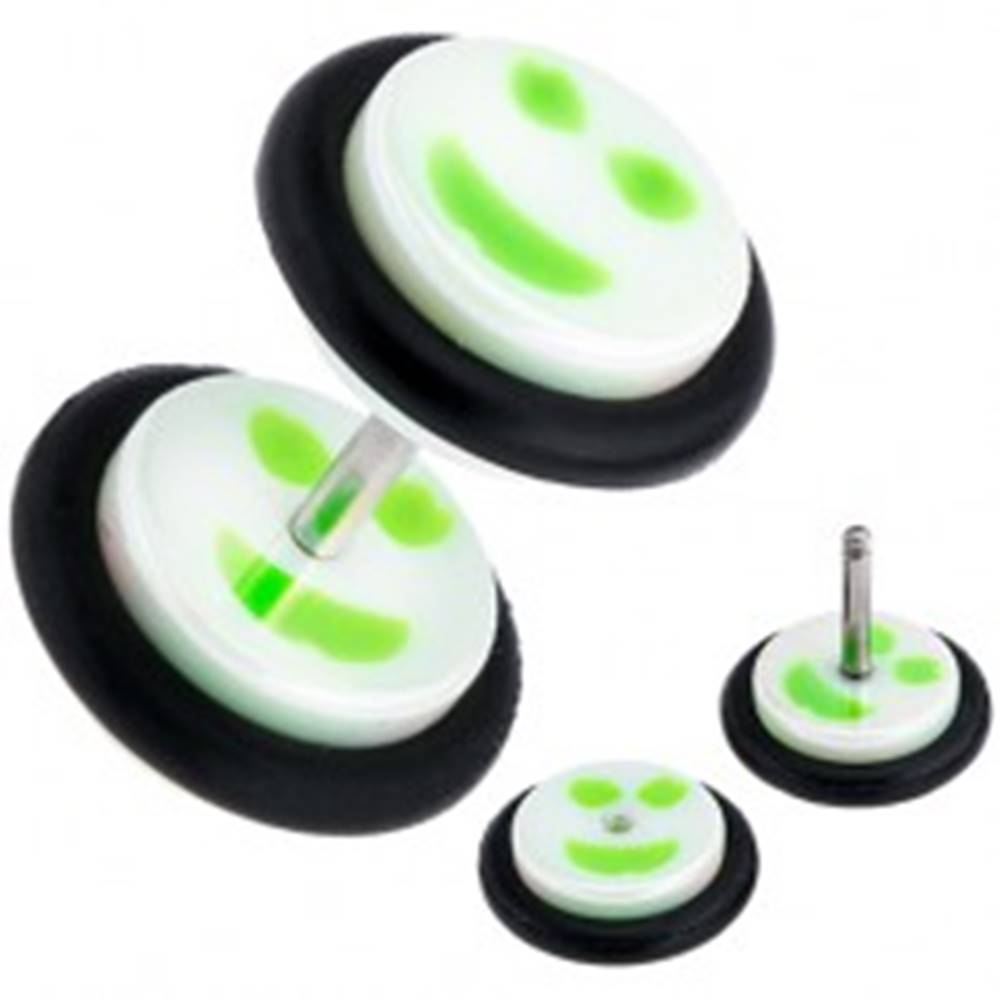 Šperky eshop Fake plug do ucha z akrylu, bielo-zelený smajlík