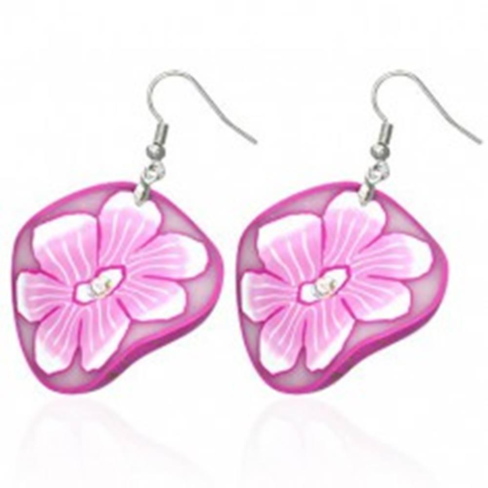 Šperky eshop FIMO náušnice - kruhy s kvetmi v bielej a ružovej farbe