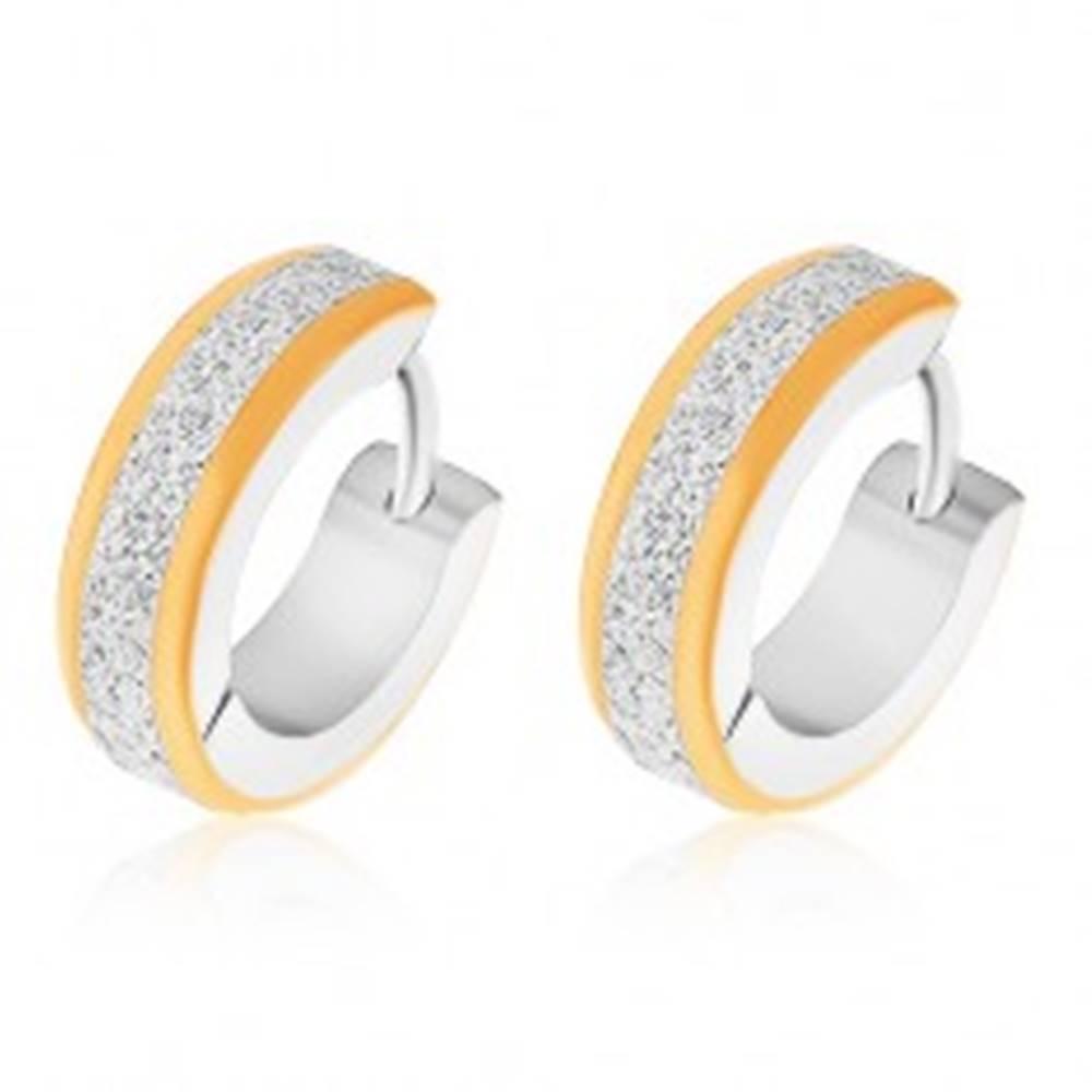 Šperky eshop Kĺbové náušnice z ocele 316L, pieskovaný povrch, okraje v zlatej farbe