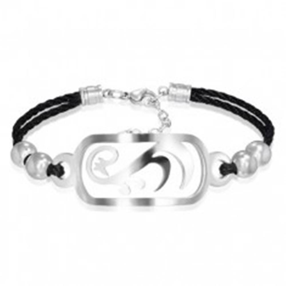 Šperky eshop Kombinovaný oceľový náramok - známka tribal, točená šnúrka, guličky