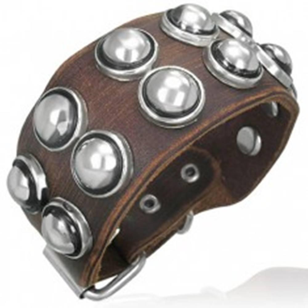 Šperky eshop Koženkový náramok - guľaté nity v objímke