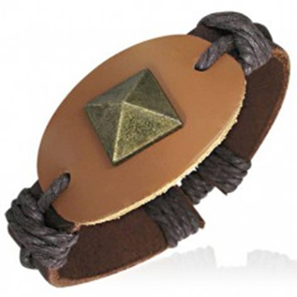 Šperky eshop Kožený náramok so šnúrkami - ovál s nitom