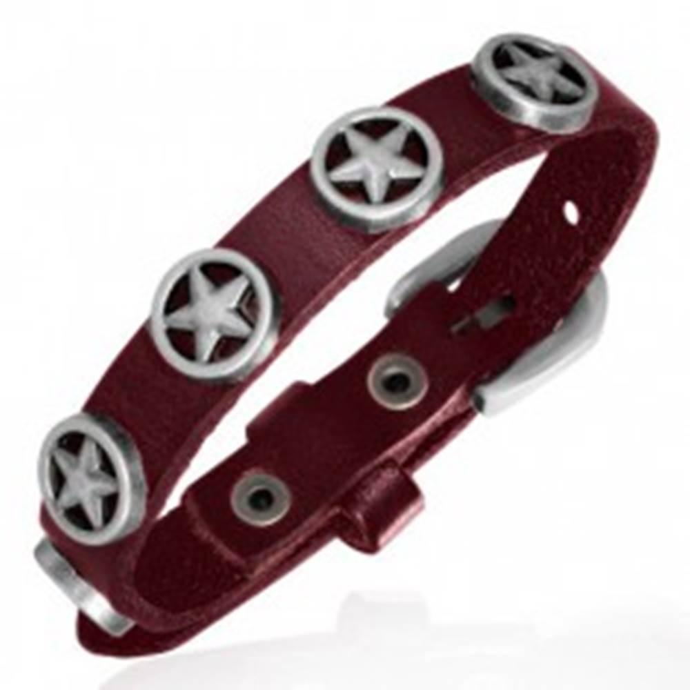 Šperky eshop Kožený tmavočervený náramok - hviezdy v kruhu