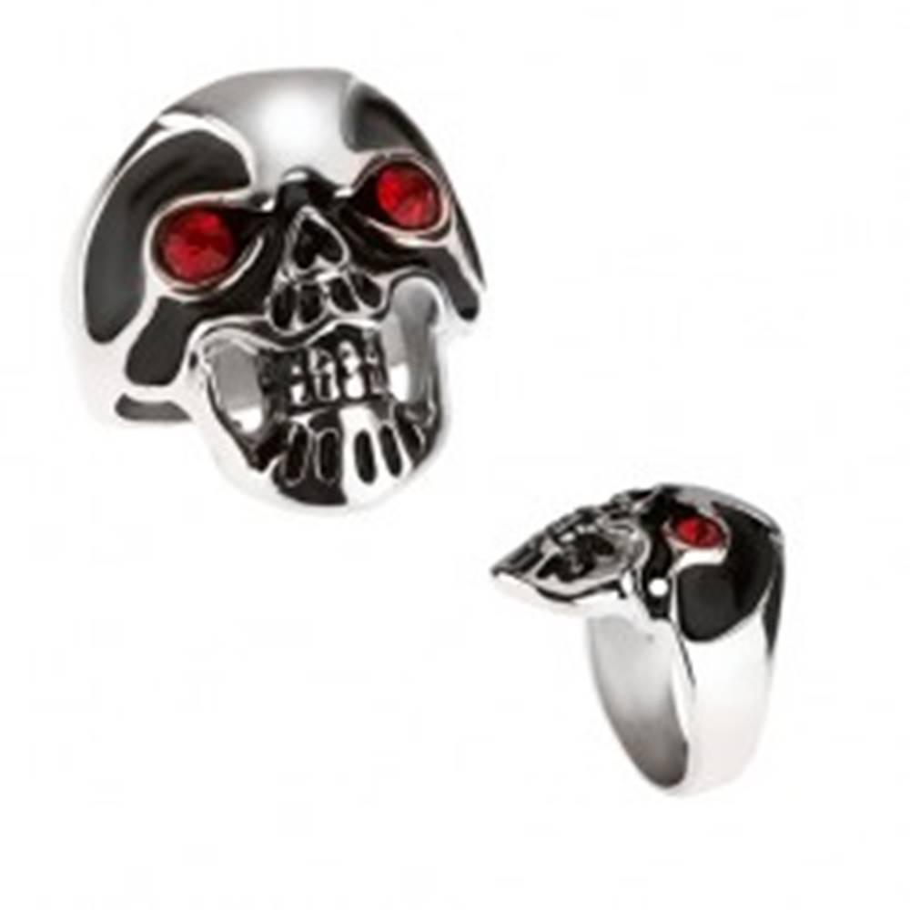 Šperky eshop Masívny oceľový prsteň - lebka, čierna glazúra, červené oči - Veľkosť: 59 mm