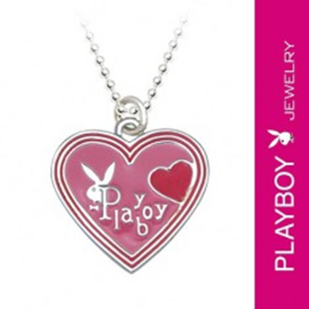 Šperky eshop Náhrdelník PLAYBOY - ružové glazúrované srdiečko so zajačikom