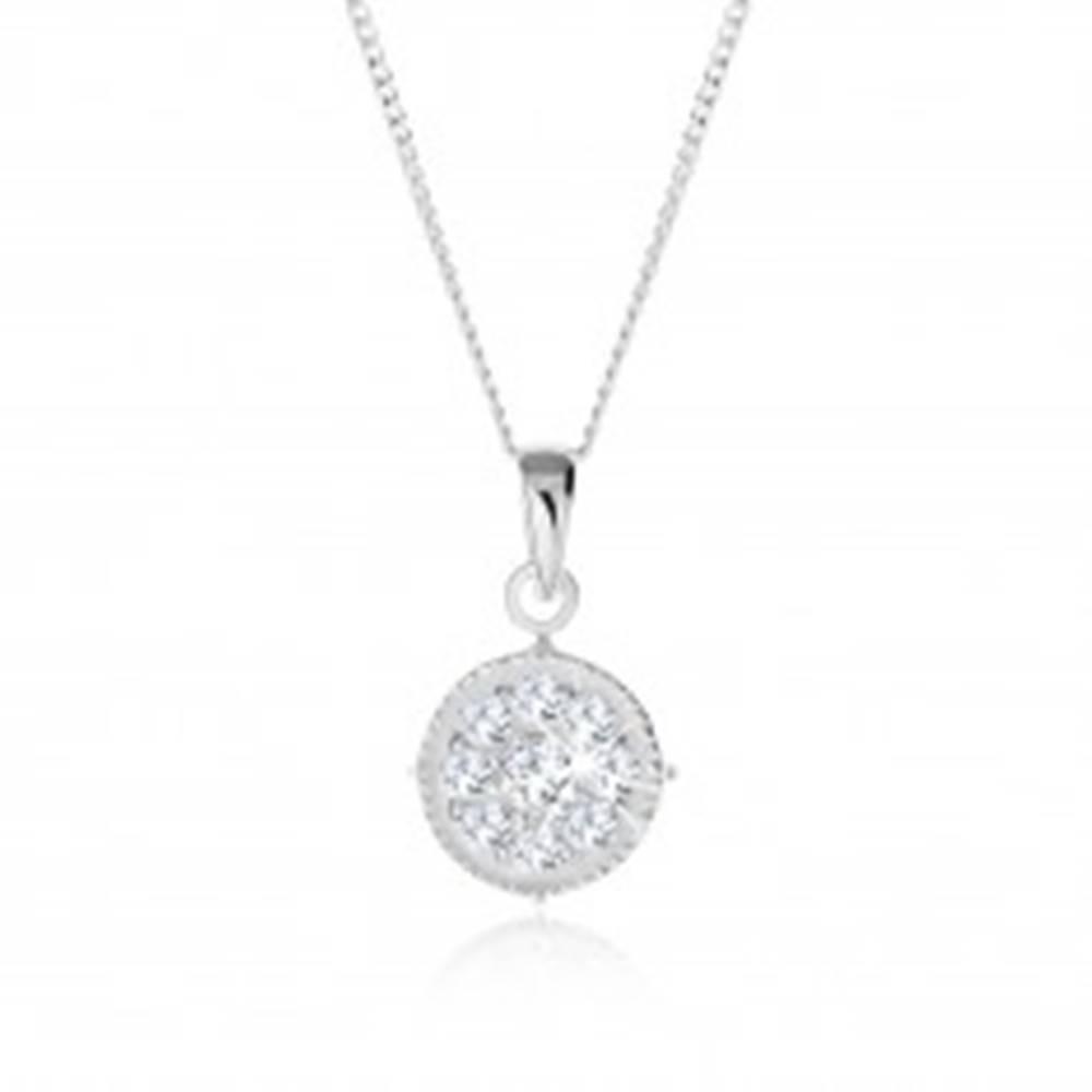 Šperky eshop Náhrdelník zo striebra 925, číry zirkónový kruh, vrúbkovaný lem