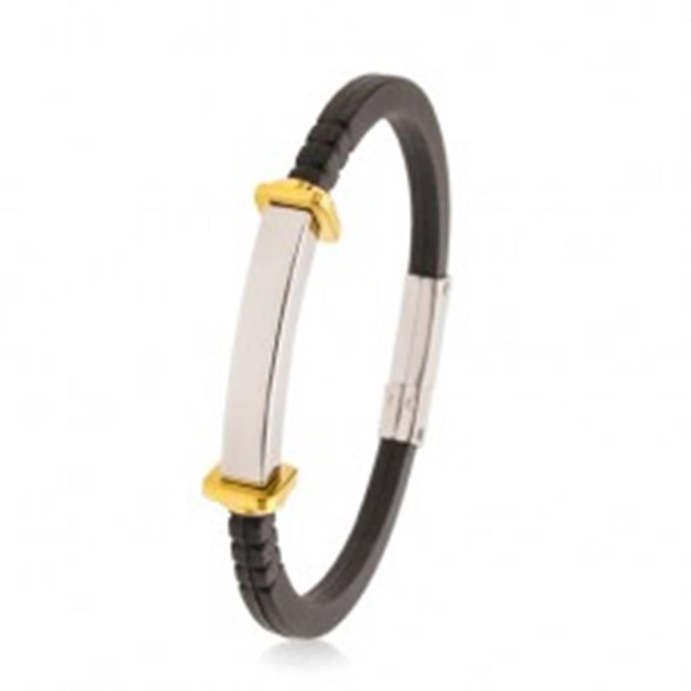 Šperky eshop Náramok z čiernej gumy, hladká oceľová známka, štvorce a kruhy zlatej farby