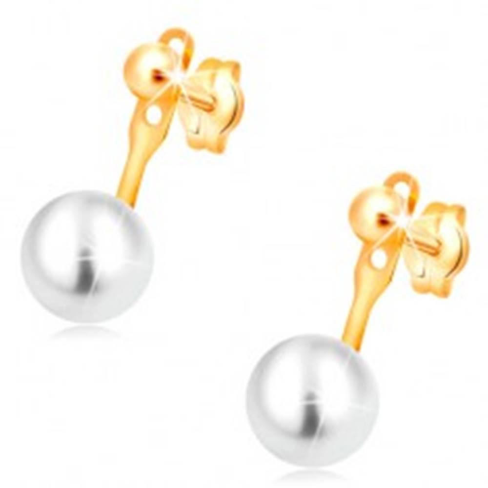 Šperky eshop Náušnice v žltom 14K zlate, lesklá hladká guľôčka a veľká biela perla