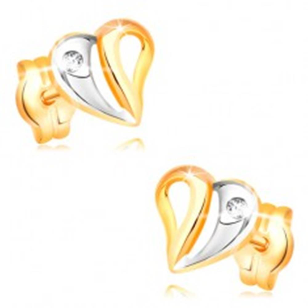 Šperky eshop Náušnice v žltom a bielom 14K zlate - dvojfarebné srdce s výrezmi a zirkónom
