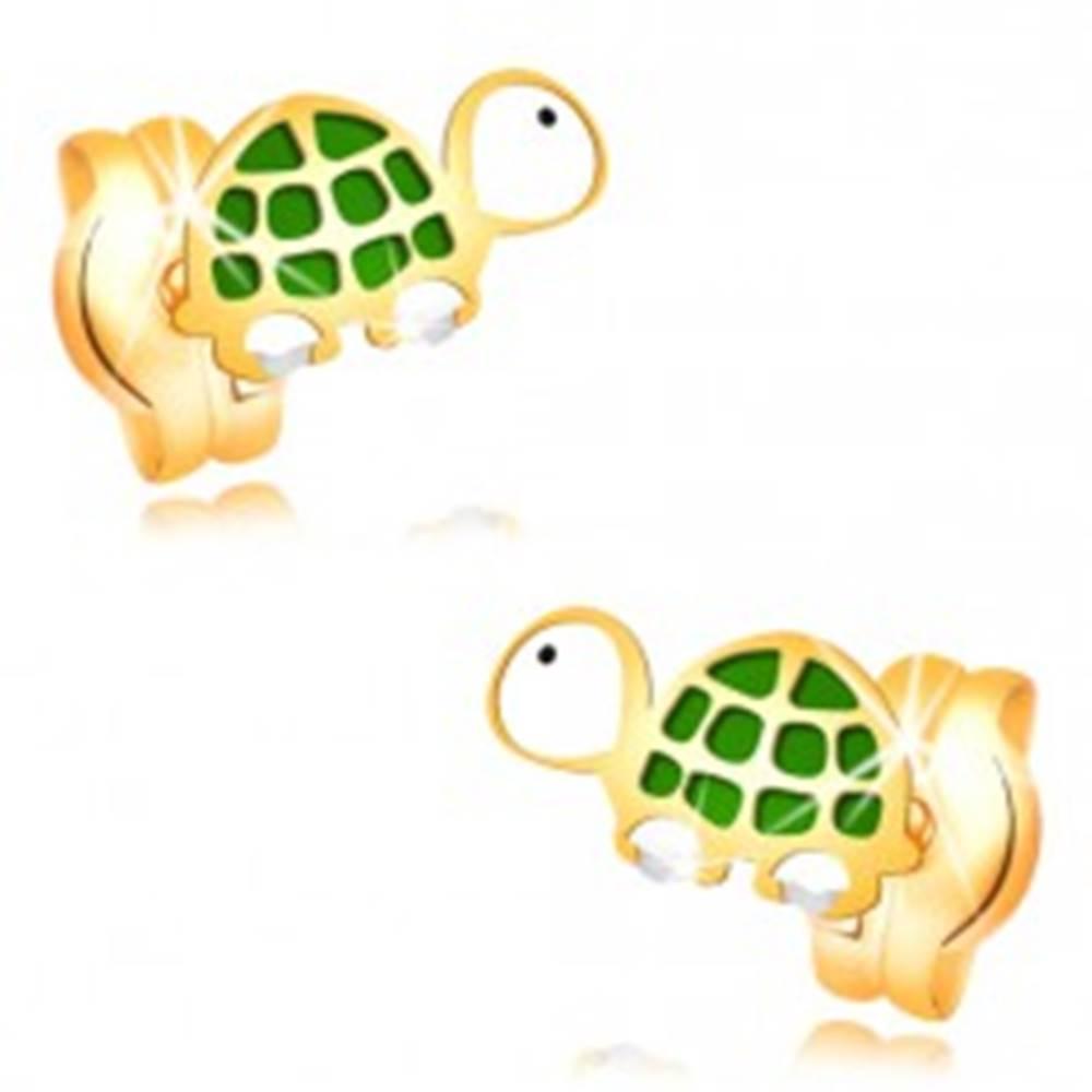 Šperky eshop Náušnice v žltom zlate 14K - malá zeleno-biela korytnačka s čiernym očkom