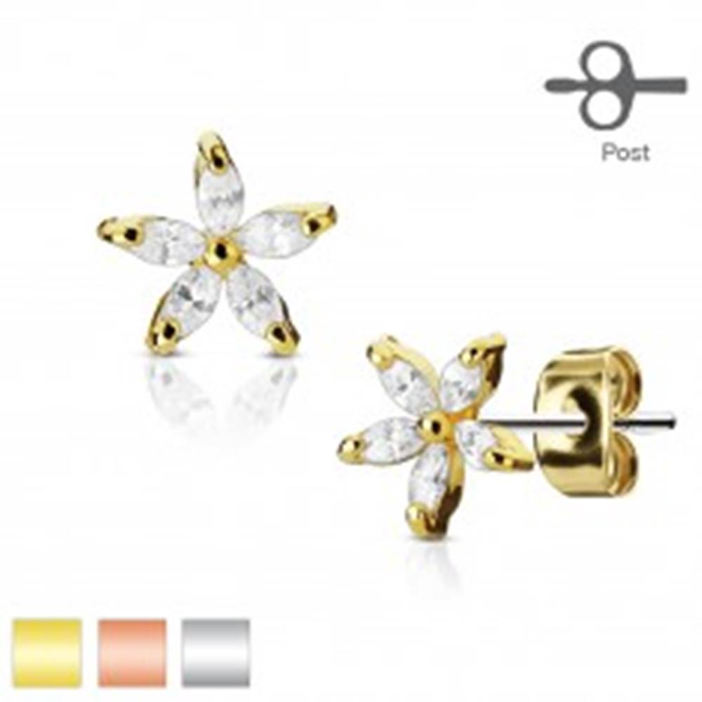 Šperky eshop Náušnice z chirurgickej ocele, číry zirkónový kvietok, puzetky - Farba: Medená