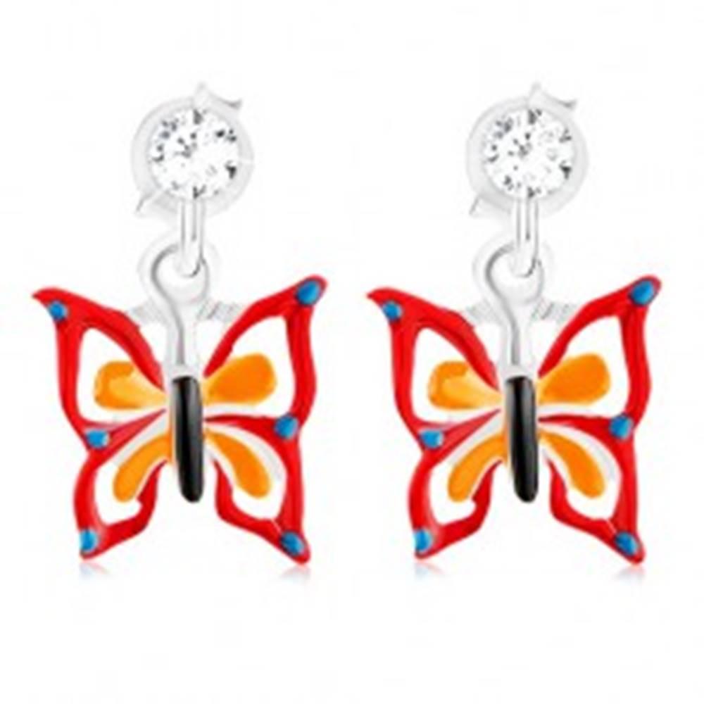 Šperky eshop Náušnice zo striebra 925, bodkovaný motýľ s červeno-oranžovou glazúrou