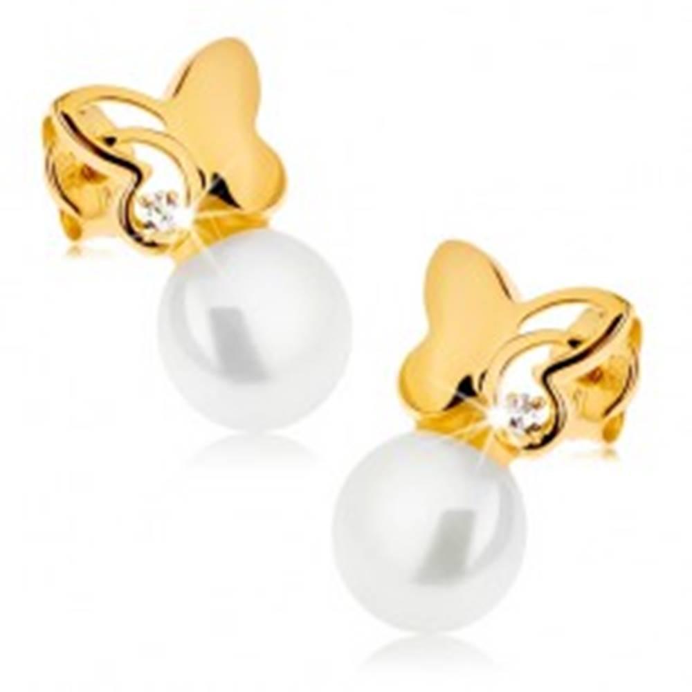 Šperky eshop Náušnice zo žltého 9K zlata - ligotavý motýľ s čírym zirkónom, biela perla
