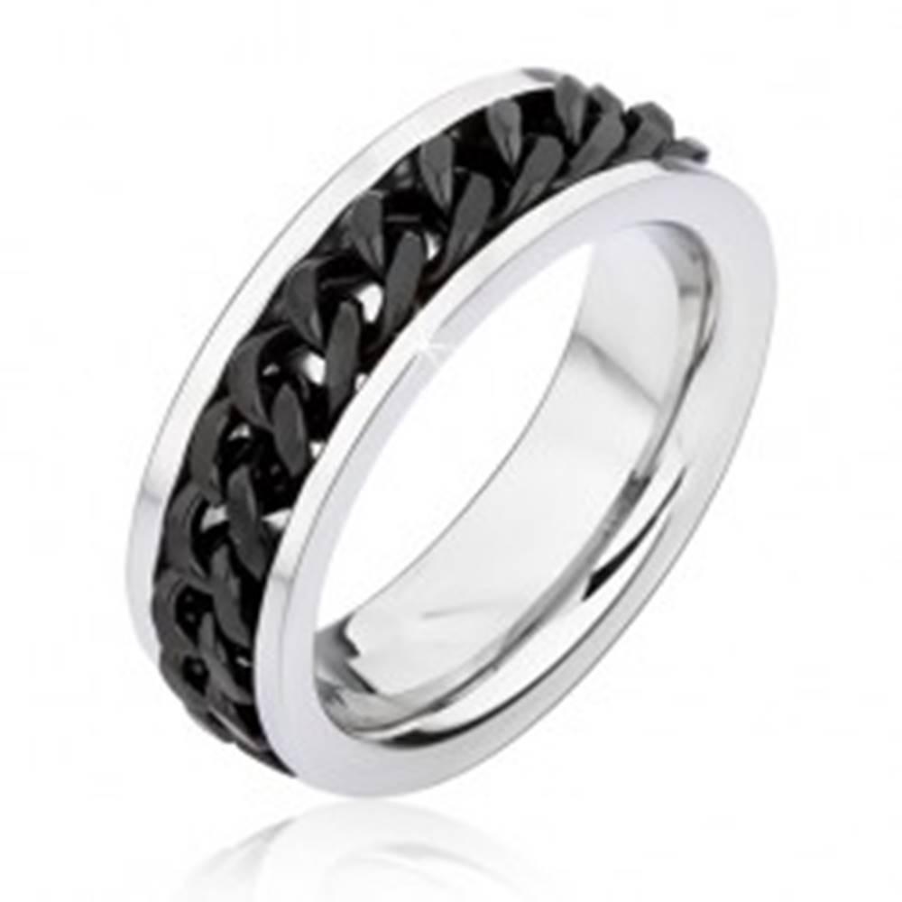 Šperky eshop Obrúčka striebornej farby z chirurgickej ocele s točiacou sa čiernou retiazkou - Veľkosť: 51 mm