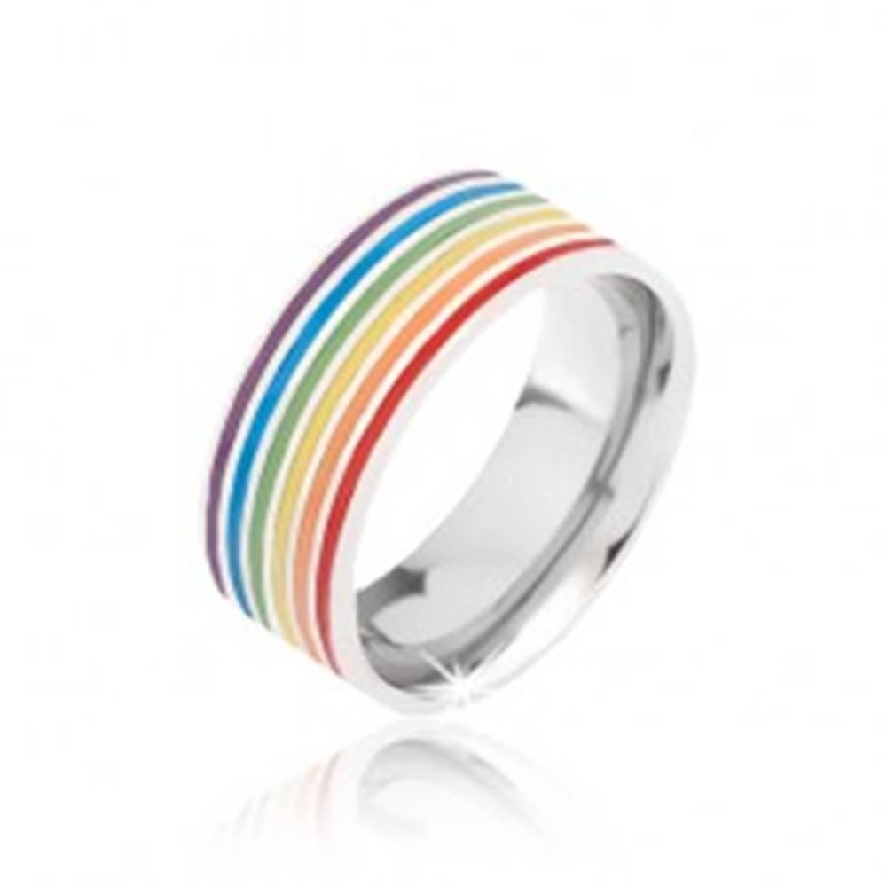 Šperky eshop Obrúčka striebornej farby z ocele, farebné prúžky - Veľkosť: 52 mm