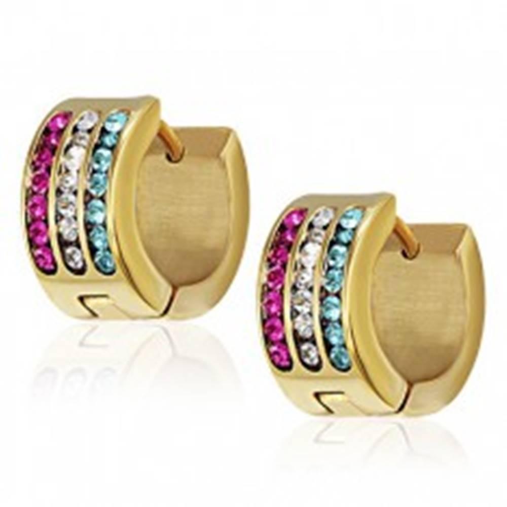 Šperky eshop Oceľové náušnice - tyrkysový, číry a purpurový pás