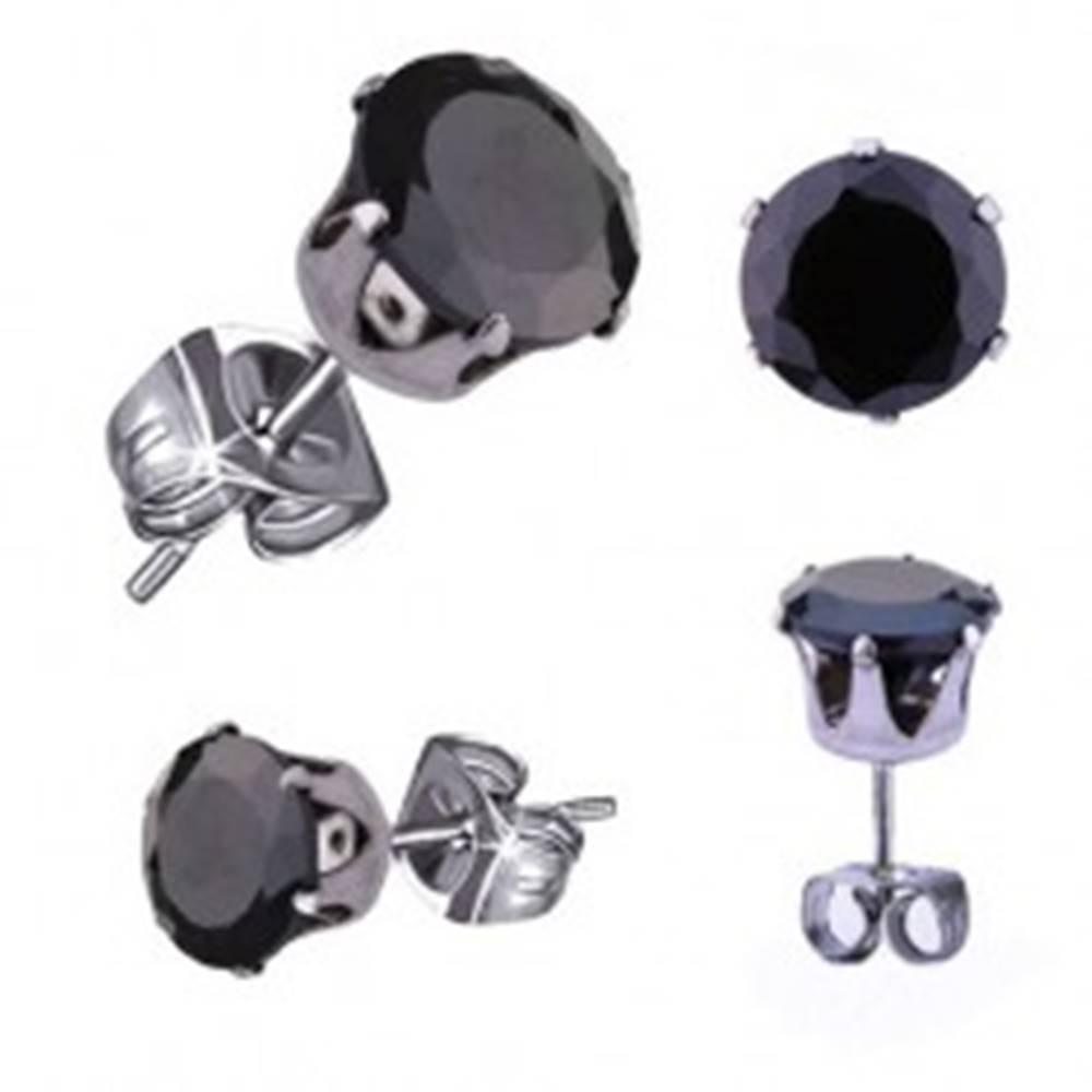 Šperky eshop Oceľové náušnice v striebornom odtieni, čierny okrúhly zirkón, 5 mm