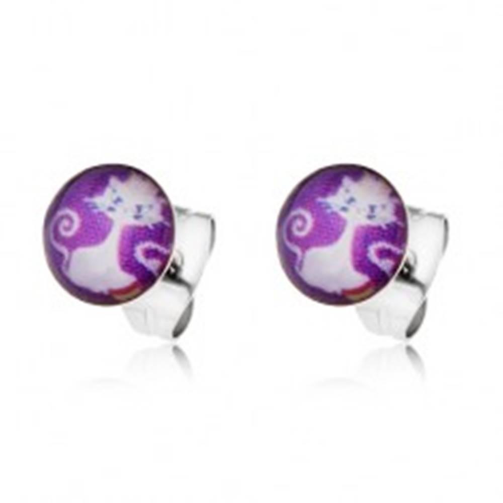 Šperky eshop Oceľové puzetové náušnice - biela mačka na fialovom podklade