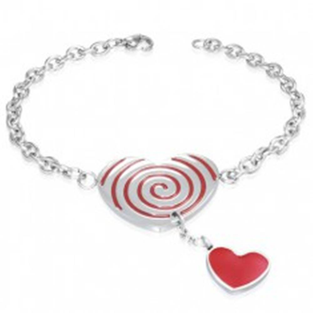 Šperky eshop Oceľový náramok - červené srdce so špirálou, retiazka