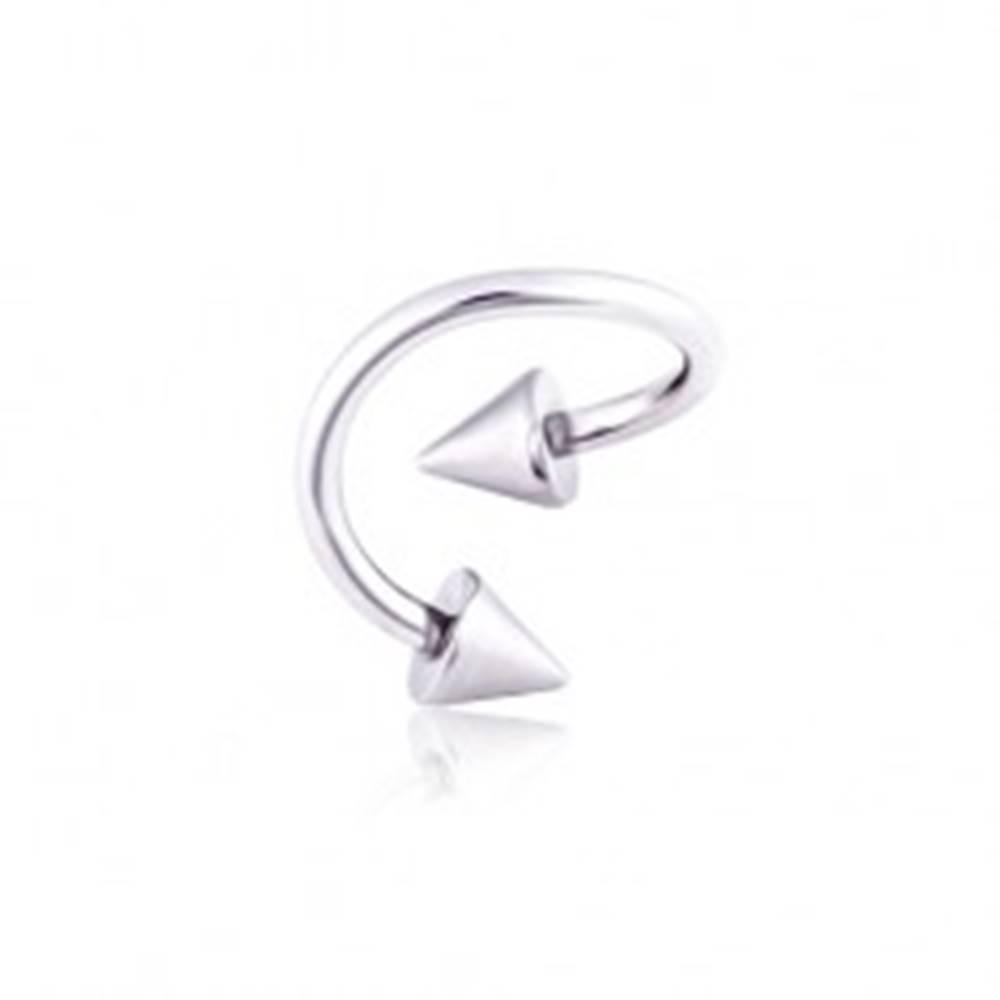 Šperky eshop Oceľový piercing do obočia twist s hrotmi - Rozmer: 1,2 mm x 10 mm x 4x4 mm