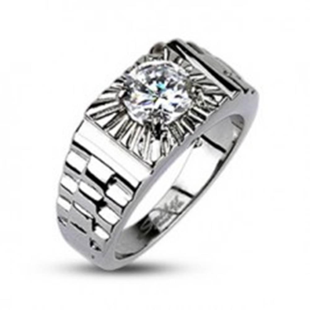Šperky eshop Oceľový prsteň - lúče striebornej farby, hodinkový štýl - Veľkosť: 59 mm