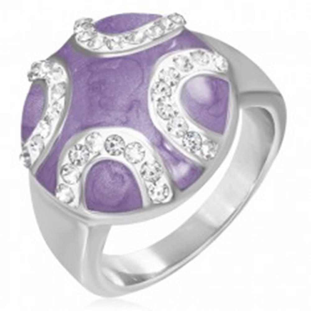 Šperky eshop Oceľový prsteň - vypuklý fialový kruh, zirkónové polmesiace - Veľkosť: 51 mm