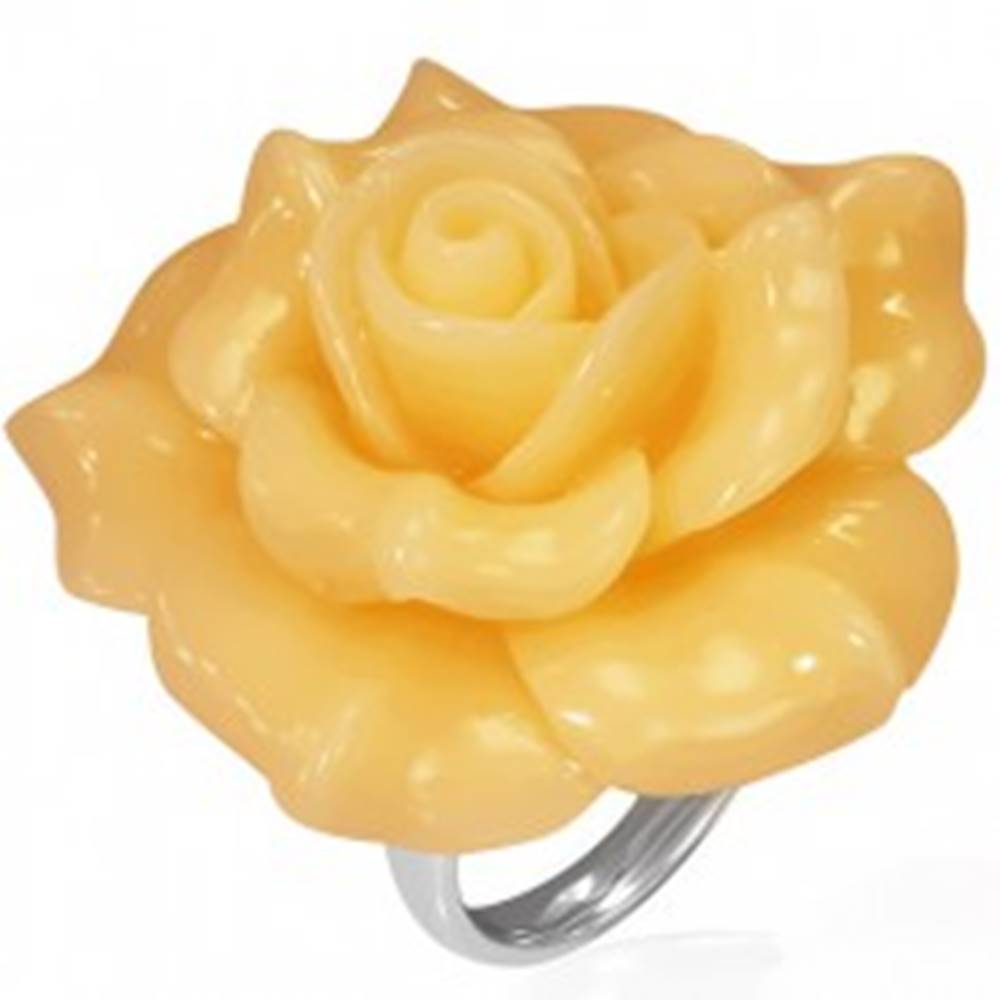 Šperky eshop Oceľový prsteň - žltá rozkvitnutá ruža, živica - Veľkosť: 49 mm