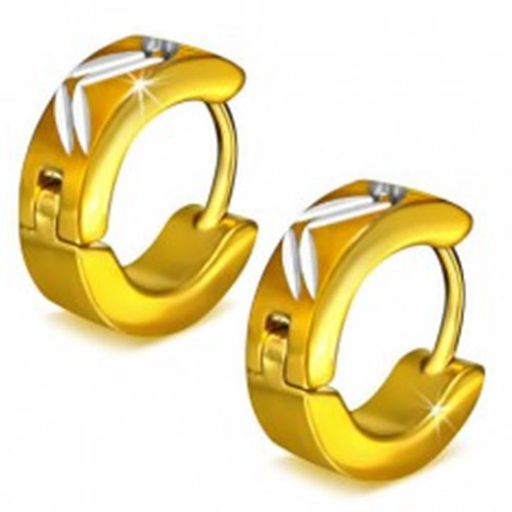 Šperky eshop Okrúhle oceľové náušnice zlatej farby, diagonálne zárezy